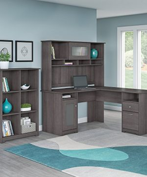 Bush Furniture Cabot L Shaped Desk With Hutch And 6 Cube Organizer In Heather Gray 0 300x360