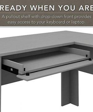 Bush Furniture Fairview L Shaped Desk With Hutch And 5 Shelf Bookcase 60W Cape Cod Gray 0 1 300x360