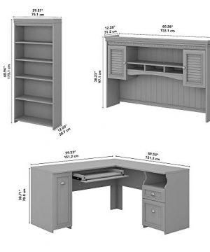 Bush Furniture Fairview L Shaped Desk With Hutch And 5 Shelf Bookcase 60W Cape Cod Gray 0 3 300x360