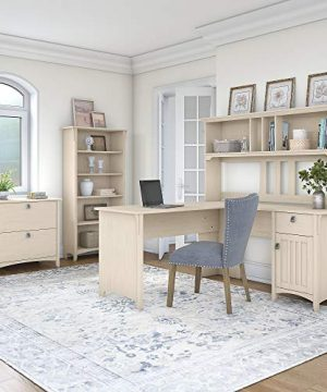 Bush Furniture Salinas 60W L Shaped Desk With Hutch Lateral File Cabinet And 5 Shelf Bookcase In Antique White 0 0 300x360