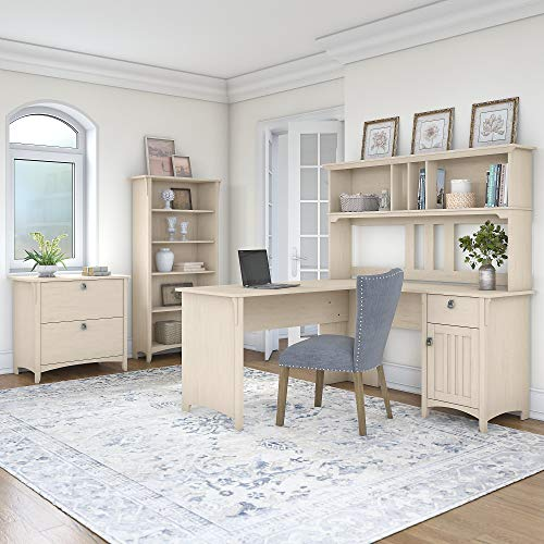 Bush Furniture Salinas 60W L Shaped Desk With Hutch Lateral File Cabinet And 5 Shelf Bookcase In Antique White 0 0