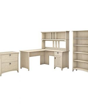 Bush Furniture Salinas 60W L Shaped Desk With Hutch Lateral File Cabinet And 5 Shelf Bookcase In Antique White 0 300x360