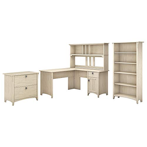 Bush Furniture Salinas 60W L Shaped Desk With Hutch Lateral File Cabinet And 5 Shelf Bookcase In Antique White 0