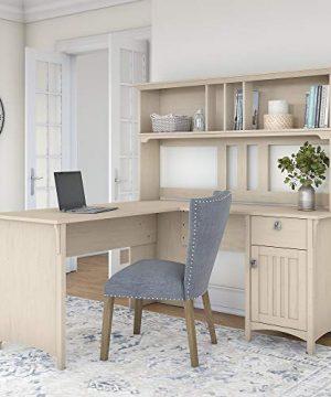 Bush Furniture Salinas 60W L Shaped Desk With Hutch In Antique White 0 0 300x360