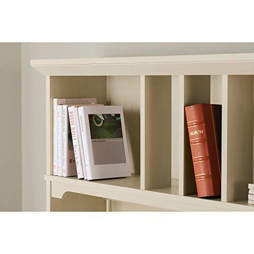Bush Furniture Salinas L Shaped Desk With Hutch And 5 Shelf Bookcase 60W Antique White 0 3