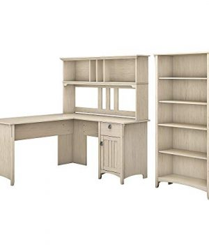 Bush Furniture Salinas L Shaped Desk With Hutch And 5 Shelf Bookcase 60W Antique White 0 300x360