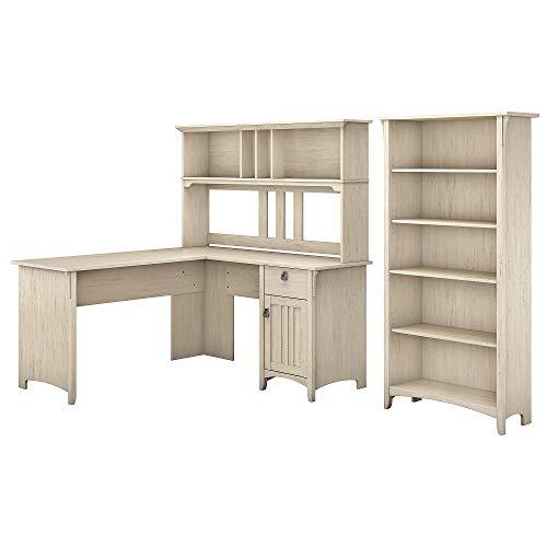 Bush Furniture Salinas L Shaped Desk With Hutch And 5 Shelf Bookcase 60W Antique White 0