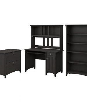 Bush Furniture Salinas Mission Desk With Hutch Lateral File Cabinet And 5 Shelf Bookcase In Vintage Black 0 300x360