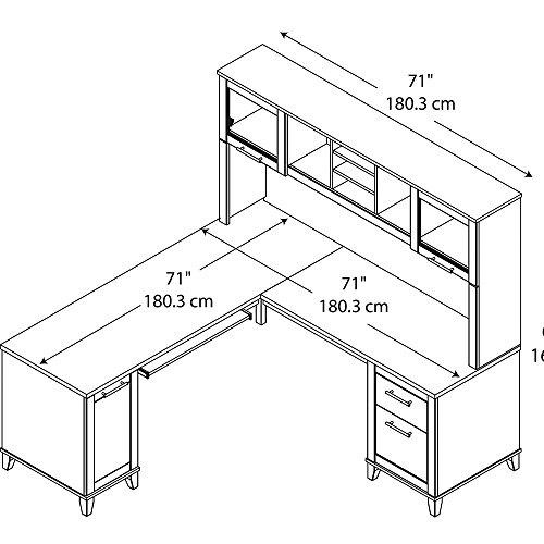 Bush Furniture Somerset L Shaped Desk With Hutch 72W Maple Cross 0 3