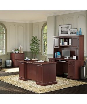 Bush Furniture Kathy Ireland Home Bennington Managers Desk Credenza With Hutch And Lateral File Harvest Cherry 0 300x360