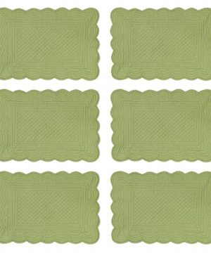 CF Home Solid Grass Quilted Oblong Rectangular Cotton Quilted Cotton Reversible Machine Washable Placemat Set Of 6 Rectangular Placemat Set Of 6 Green 0 0 300x360