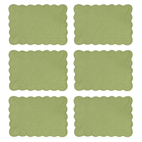 CF Home Solid Grass Quilted Oblong Rectangular Cotton Quilted Cotton Reversible Machine Washable Placemat Set Of 6 Rectangular Placemat Set Of 6 Green 0 0