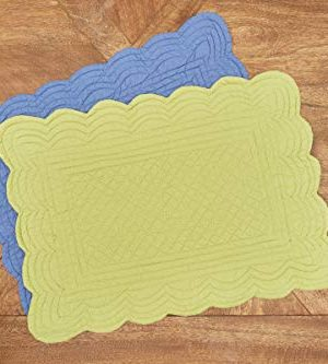 CF Home Solid Grass Quilted Oblong Rectangular Cotton Quilted Cotton Reversible Machine Washable Placemat Set Of 6 Rectangular Placemat Set Of 6 Green 0 1 300x333