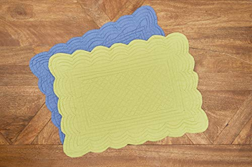 CF Home Solid Grass Quilted Oblong Rectangular Cotton Quilted Cotton Reversible Machine Washable Placemat Set Of 6 Rectangular Placemat Set Of 6 Green 0 1