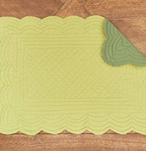 CF Home Solid Grass Quilted Oblong Rectangular Cotton Quilted Cotton Reversible Machine Washable Placemat Set Of 6 Rectangular Placemat Set Of 6 Green 0 2 300x311