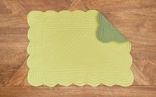 CF Home Solid Grass Quilted Oblong Rectangular Cotton Quilted Cotton Reversible Machine Washable Placemat Set Of 6 Rectangular Placemat Set Of 6 Green 0 2