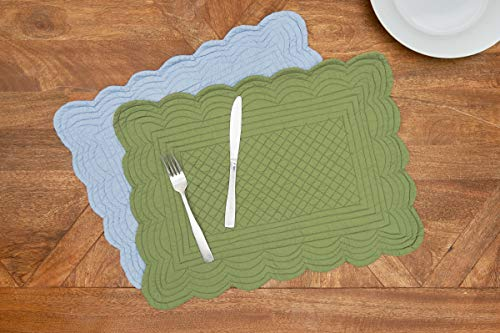 CF Home Solid Grass Quilted Oblong Rectangular Cotton Quilted Cotton Reversible Machine Washable Placemat Set Of 6 Rectangular Placemat Set Of 6 Green 0 3