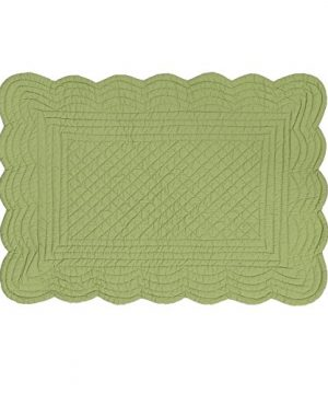 CF Home Solid Grass Quilted Oblong Rectangular Cotton Quilted Cotton Reversible Machine Washable Placemat Set Of 6 Rectangular Placemat Set Of 6 Green 0 300x360