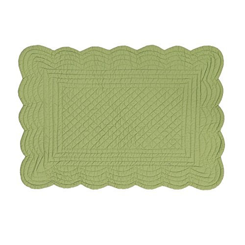 CF Home Solid Grass Quilted Oblong Rectangular Cotton Quilted Cotton Reversible Machine Washable Placemat Set Of 6 Rectangular Placemat Set Of 6 Green 0