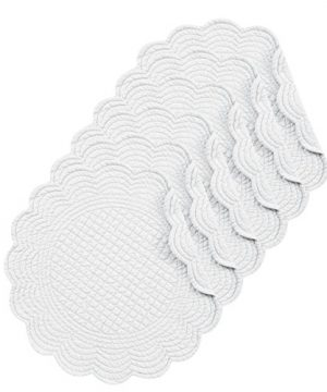 CF Home White Plain Everyday Tabletop Dcor Seasonal Cotton Quilted Round Cotton Reversible Machine Washable Placemat Set Of 6 Round Placemat Set Of 6 White 0 0 300x360