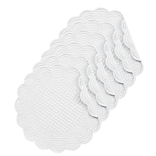 CF Home White Plain Everyday Tabletop Dcor Seasonal Cotton Quilted Round Cotton Reversible Machine Washable Placemat Set Of 6 Round Placemat Set Of 6 White 0 0