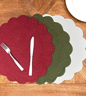 CF Home White Plain Everyday Tabletop Dcor Seasonal Cotton Quilted Round Cotton Reversible Machine Washable Placemat Set Of 6 Round Placemat Set Of 6 White 0 2 300x333