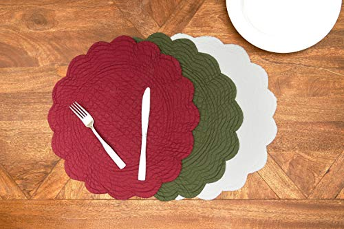 CF Home White Plain Everyday Tabletop Dcor Seasonal Cotton Quilted Round Cotton Reversible Machine Washable Placemat Set Of 6 Round Placemat Set Of 6 White 0 2