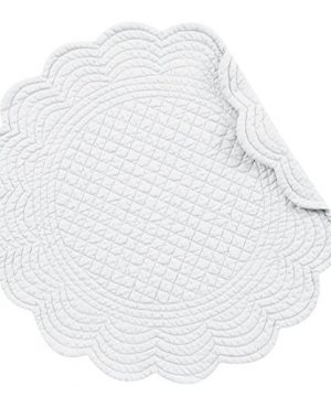 CF Home White Plain Everyday Tabletop Dcor Seasonal Cotton Quilted Round Cotton Reversible Machine Washable Placemat Set Of 6 Round Placemat Set Of 6 White 0 300x360