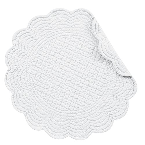 CF Home White Plain Everyday Tabletop Dcor Seasonal Cotton Quilted Round Cotton Reversible Machine Washable Placemat Set Of 6 Round Placemat Set Of 6 White 0