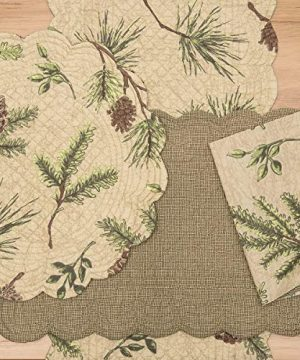 CF Home Woodland Retreat 17 X 17 Quilted Reversible Cotton Placemats Round Table Mat Pinecone Decor Cabin Rustic Lodge Brown Green Round Placemat Set Of 6 Tan 0 0 300x360