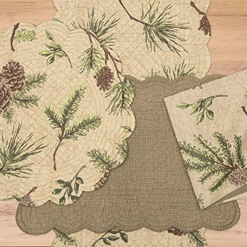 CF Home Woodland Retreat 17 X 17 Quilted Reversible Cotton Placemats Round Table Mat Pinecone Decor Cabin Rustic Lodge Brown Green Round Placemat Set Of 6 Tan 0 0