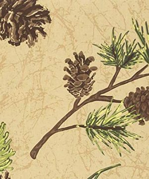 CF Home Woodland Retreat 17 X 17 Quilted Reversible Cotton Placemats Round Table Mat Pinecone Decor Cabin Rustic Lodge Brown Green Round Placemat Set Of 6 Tan 0 1 300x360