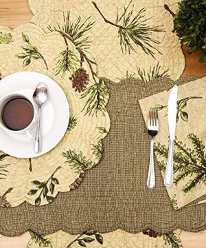 CF Home Woodland Retreat 17 X 17 Quilted Reversible Cotton Placemats Round Table Mat Pinecone Decor Cabin Rustic Lodge Brown Green Round Placemat Set Of 6 Tan 0 2 300x360