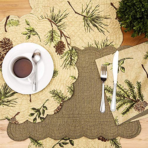 CF Home Woodland Retreat 17 X 17 Quilted Reversible Cotton Placemats Round Table Mat Pinecone Decor Cabin Rustic Lodge Brown Green Round Placemat Set Of 6 Tan 0 2