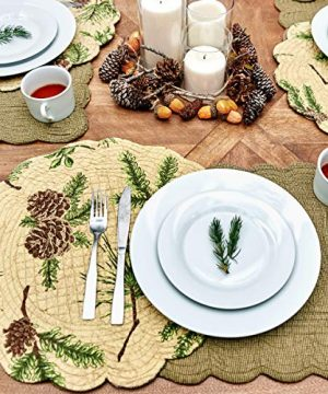 CF Home Woodland Retreat 17 X 17 Quilted Reversible Cotton Placemats Round Table Mat Pinecone Decor Cabin Rustic Lodge Brown Green Round Placemat Set Of 6 Tan 0 3 300x360