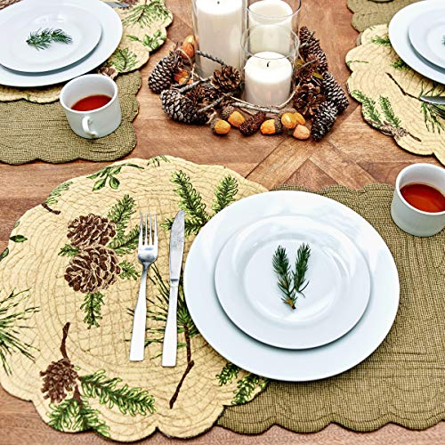 CF Home Woodland Retreat 17 X 17 Quilted Reversible Cotton Placemats Round Table Mat Pinecone Decor Cabin Rustic Lodge Brown Green Round Placemat Set Of 6 Tan 0 3