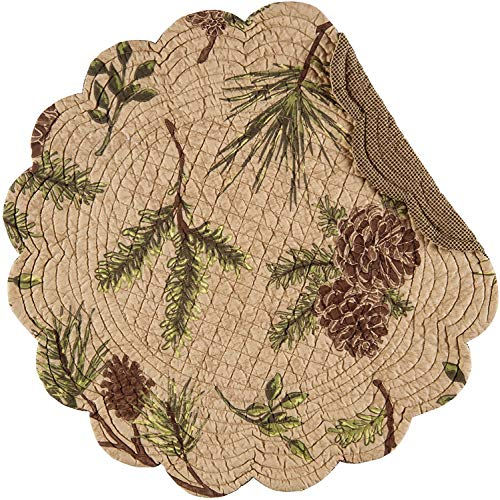 CF Home Woodland Retreat 17 X 17 Quilted Reversible Cotton Placemats Round Table Mat Pinecone Decor Cabin Rustic Lodge Brown Green Round Placemat Set Of 6 Tan 0