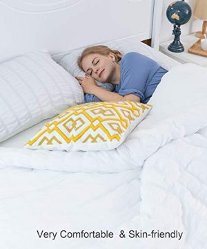 CHOSHOME Twin Duvet Cover Comforter White Bedding Set Farmhouse Seersucker Lightweight Sheets Pillow Corner Ties 3 Pics 0 0 300x360