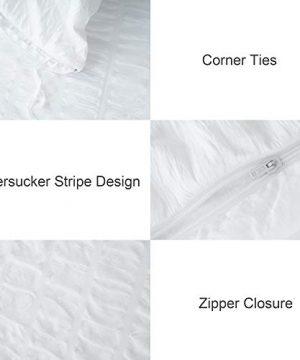 CHOSHOME Twin Duvet Cover Comforter White Bedding Set Farmhouse Seersucker Lightweight Sheets Pillow Corner Ties 3 Pics 0 2 300x360