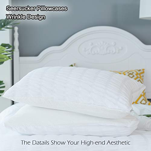 CHOSHOME Twin Duvet Cover Comforter White Bedding Set Farmhouse Seersucker Lightweight Sheets Pillow Corner Ties 3 Pics 0 4