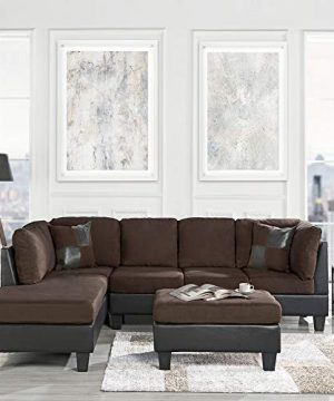 Casa Andrea Modern 3 Piece Microfiber And Faux Leather Sofa And Ottoman Set 102 W Brown 0 300x360