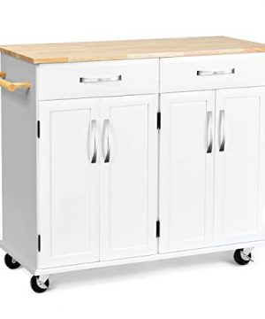 Casart Kitchen Island WWood Top Two Drawers And Cabinets Lockable Wheels Rolling Kitchen Cart White 0 300x360