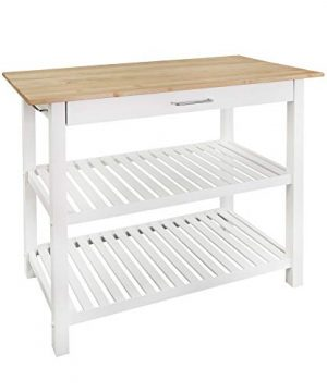 Casual Home Kitchen Island With Solid American Hardwood Top White 0 300x360