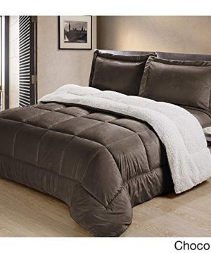 Cathay Home Fashions Reversible Faux Fur And Sherpa 3 Piece Comforter Set Queen Chocolate 0 0 300x360