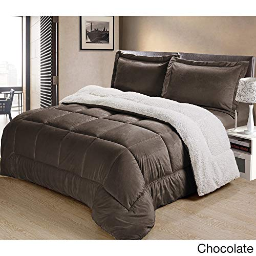 Cathay Home Fashions Reversible Faux Fur And Sherpa 3 Piece Comforter Set Queen Chocolate 0 0
