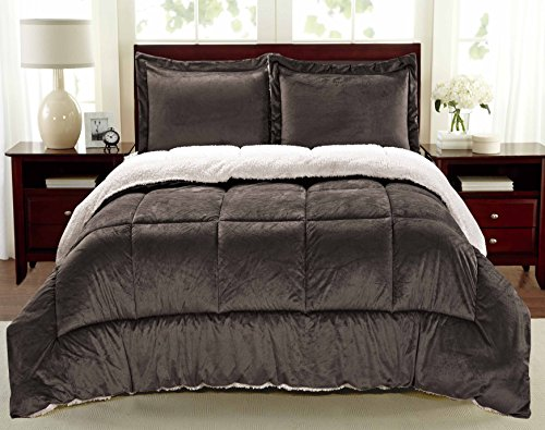 Cathay Home Fashions Reversible Faux Fur And Sherpa 3 Piece Comforter Set Queen Chocolate 0