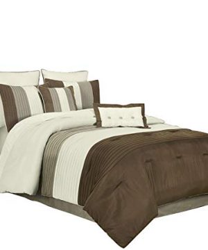 Chezmoi Collection 8 Pieces Luxury Striped Comforter Set Full BrownOff WhiteTaupe 0 300x360