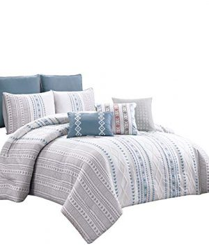 Chezmoi Collection Tribeca 8 Piece Modern Geometric Stripe Printed Textured Chenille Embroidered Comforter Set Queen Size 0 300x360