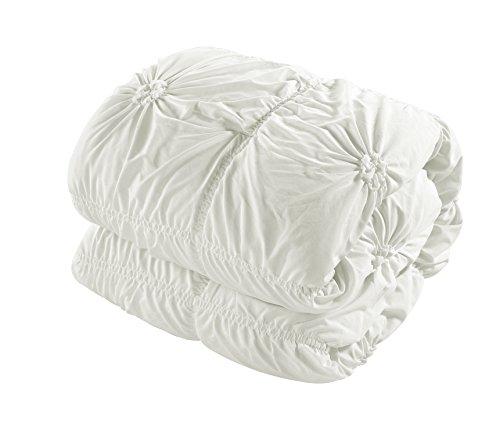 Chic Home 10 Piece Halpert Floral Pinch Pleat Ruffled Designer Embellished Comforter Set Queen White With 4 Piece White Sheet Set 0 4