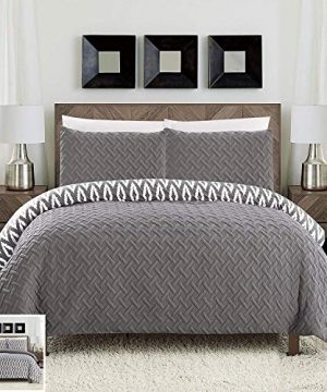 Chic Home 3 Piece Ora Heavy Embossed And Embroidered Quilted Geometrical Pattern Reversible Printed Queen Comforter Set Grey 0 300x360